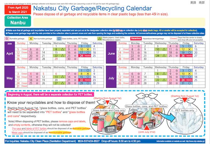 中津市 多言語ごみカレンダー